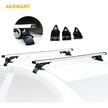 """AUXMART Roof Rack Crossbars with 3 Pair of Mounting Clamps - 48"""" (122cm) 150LBS /68KG Capacity (Pack of 2)"""