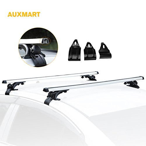 """AUXMART Roof Rack Crossbars Bar Set Car Roof Width Less than 48"""" Adjustable for Most Vehicle Wagon Car without Roof Side Rail (Pack of 2) 150LBS /68KG Capacity"""