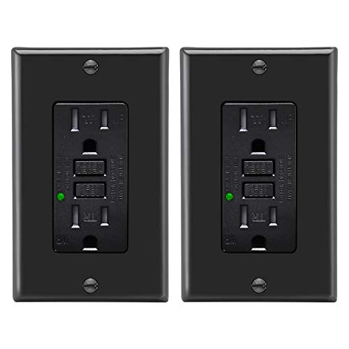 [2 Pack] BESTTEN Black GFCI Outlet, 15A/125V/1875W, Tamper and Weather Resistant, Self-Test GFI Receptacle with LED Indicator, Ground Fault Circuit Interrupter, Wall Plate Included, ETL Certified