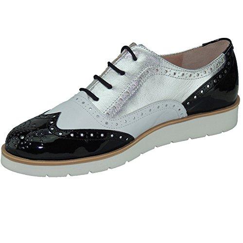 MYLTHO - Zapato Oxford En Piel Y Charol Con Piso Bloc Blanco - Modelo 96008 BLANCO PLATA NEGRO