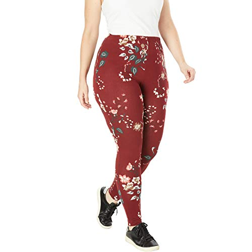 - Woman Within Women's Plus Size Stretch Cotton Printed Legging - Burgundy Floral Bouquet, L