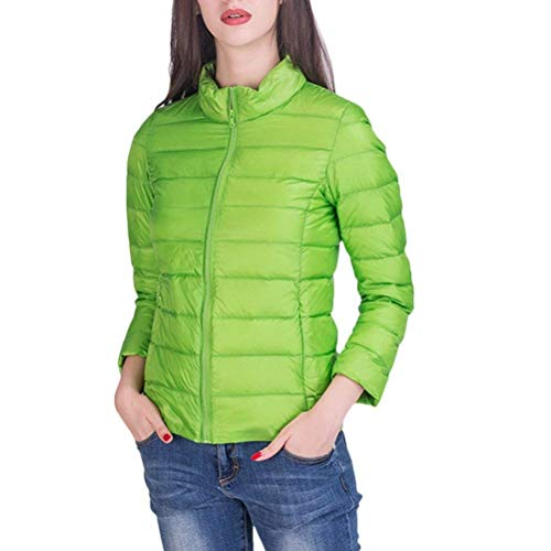 Cremallera Casuales Pluma Exteriores Solapa Mujeres Cómodo Prendas Moda Manga Outwear Con De Verde Corto Battercake Mujer Invierno Abrigos Larga Bolsillos Unicolor HxW7OqPXwz
