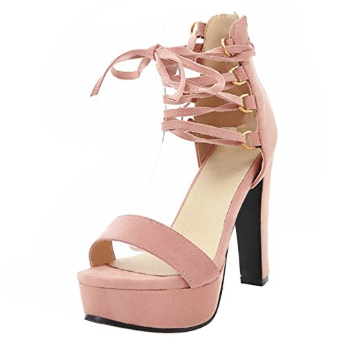 Hauts Femmes Lacets Pink Taoffen Talons Sandales ATq6qx