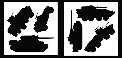 Auto Vynamics - STENCIL-MILVEHICSET01-10 - Detailed Military Land Vehicles Stencil Set - Includes Tanks & Wheeled Automobiles! - 10-by-10-inch Sheets - (2) Piece Kit - Pair of Sheets