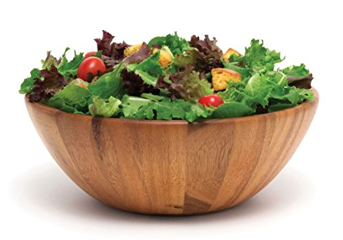 Lipper International 1154 Acacia Round Flair Serving Bowl for Fruits or Salads, Large, 12'' Diameter x 4.5'' Height, Single Bowl by Lipper International (Image #1)