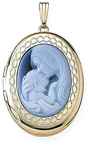 PicturesOnGold.com Solid 14K Yellow Gold Oval Mother and Child Cameo Locket - 3/4 Inch X 1 Inch in Solid 14K Yellow Gold with Engraving ()