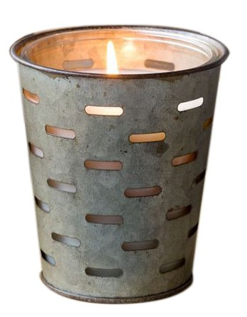 Red Co. Barn Door Farmhouse Earthy Wood Scented Glass Jar Candle in Galvanized Tin Pot - 60 h