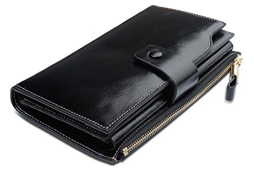 YALUXE Women's Large Capacity Luxury Wax Genuine Leather Wallet With Zipper Pocket Black