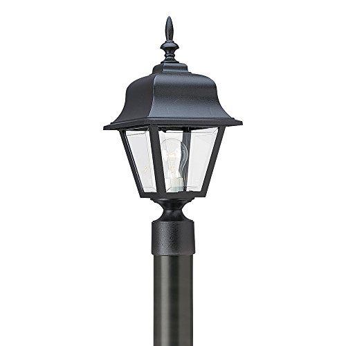 Cheap Sea Gull Lighting 8255-12 One-Light Outdoor Post Lantern with Clear Beveled Acrylic Panels, Black Finish