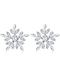 925 Sterling Silver CZ Winter Snowflake Flower Elegant Stud Earrings for Women