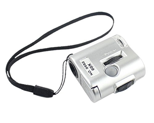 Skycoolwin Mini Lens 60X Pocket Magnifier Microscope with LED Light Jewelry Jeweler Loupe