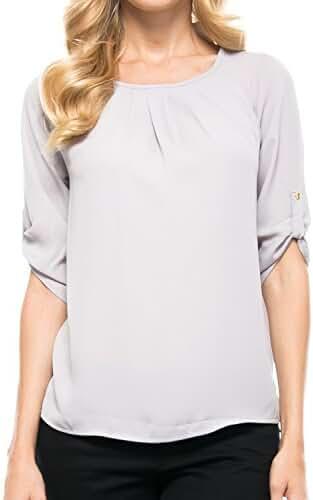 KLKD Women's Basic Chiffon 3/4 Sleeve Roll Up Blouse