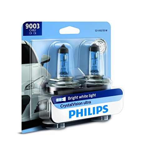 (Philips 9003 CrystalVision Ultra Upgrade Bright White Headlight Bulb, 2 Pack)