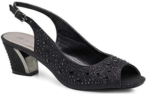 Enzo Romeo Lime01 Womens Open Toe Low Heel Wedding Rhinestone Wedge Sandal Shoes (8, ()