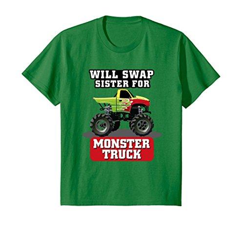 Kids Monster Truck shirt; WILL SWAP SISTER FOR MONSTER TRUCK 6 Kelly Green - Grand Jams