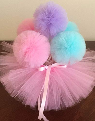 Set 5 Tulle Pompom wand and Tutu Centerpiece Flowers Fluffy Tulle Pom Poms Ball wands for Baby Shower Decorations, Wedding Decor, Birthday Party Favors Celebration