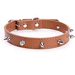 "Spiked Dog Collar Leather Pet Collar Bullet Rivets Spike Mushrooms Studded Spikes Cat Collars Charms Necklace for Pitbull Puppy Kitty Dogs Cats Training Walking Sports Neck 9""-12"""