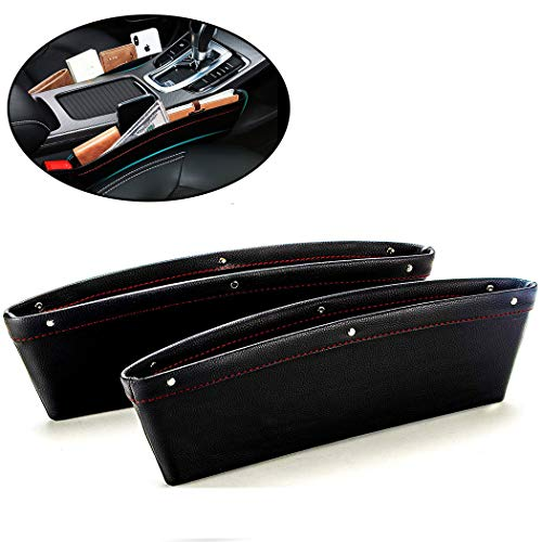 Car Seat Gap Filler, Car Pocket Organizer, Premium PU Leather Car Seat Crevice Storage Box, Car Interior Accessories, Car Side Seat Catcher for Phone Wallet Coin Key Cards (2 Pack) (Black&Red)