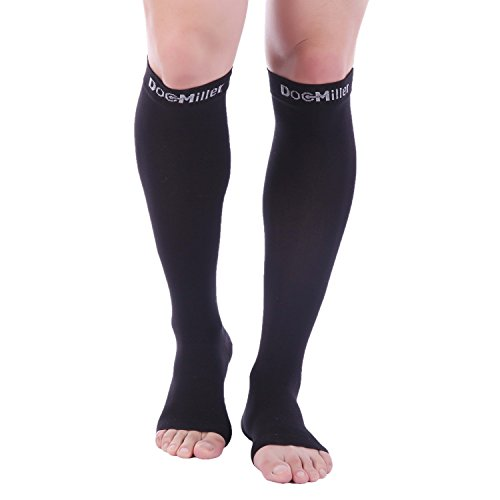Doc Miller Premium Open Toe Compression Sleeve 1 Pair 20-30mmHg Strong Calf Support Graduated Pressure for Sports Running Muscle Recovery Shin Splints Varicose Veins (Open Toe, Black, 3X-Large)