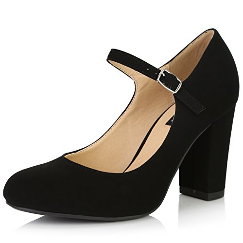 hunky Classic Round Toe Ankle Strap Shoes with Buckle Closure, Black Nubuck PU, 6 B(M) US ()