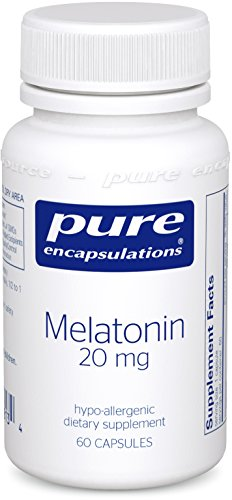 Plus Cellulose Tissue - Pure Encapsulations - Melatonin 20 mg - Hypoallergenic Supplement Promotes Healthy Cells and Tissues* - 60 Capsules