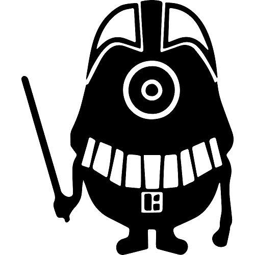ANGDEST Cartoon Minion Darth Vader (Black) (Set of 2) Premium Waterproof Vinyl Decal Stickers for Laptop Phone Accessory Helmet Car Window Bumper Mug Tuber Cup Door Wall Decoration
