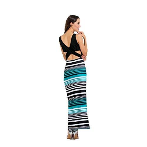 Vestiti estivo spiaggia Abito WANG lungo abito C dimensioni strisce da Colore sexy donna M da elastico xgTS0waTq
