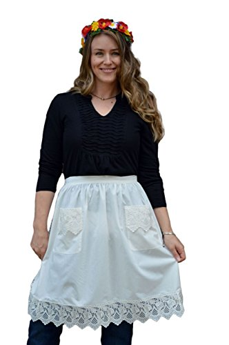 Costume Victorian Maid Kitchen (Deluxe Lace Victorian Maid Costume Ladies Half White Apron with)