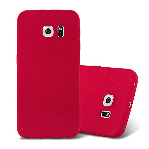 Cadorabo Case Works with Samsung Galaxy S6 Edge in Frost RED - Shockproof and Scratch Resistant TPU Silicone Cover - Ultra Slim Protective Gel Shell Bumper Back Skin
