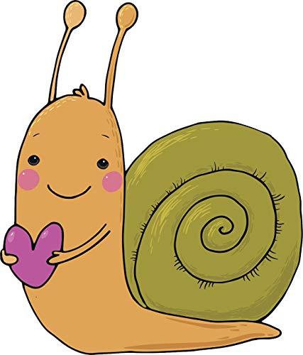 EW Designs Cute Happy Kids Valentine Snail with Heart Icon Vinyl Decal Bumper Sticker (4