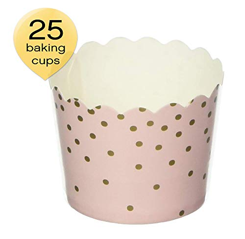 Simply Baked CSM-140 Disposable Paper Baking Cups, 25-Pack, Pink & Gold Dots