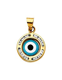 14k Tri-Color Gold CZ Evil Eye Pendant Charm