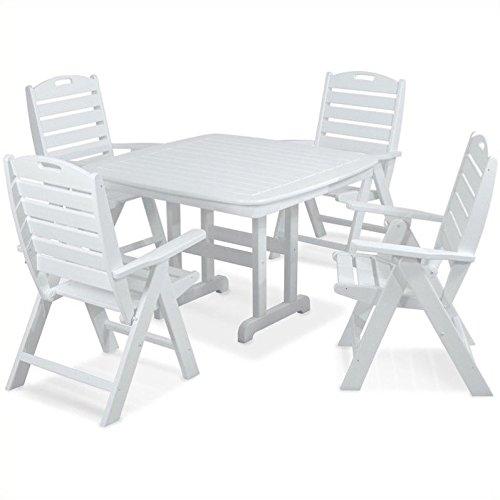 POLYWOOD PWS124-1-WH Nautical 5-Piece Dining Set, White (4 Polywood Seat)