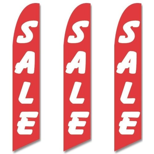 (Three (3) Pack Full Sleeve Swooper Flags SALE Red with Big White Text)