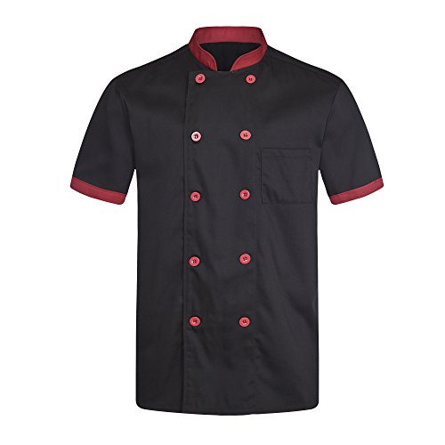 Chef Coat Black with Red Uniforms Short Sleeve Chef Jacket Unisex Black US Size:XL (Tag:XXXXL) by ChefsUniforms