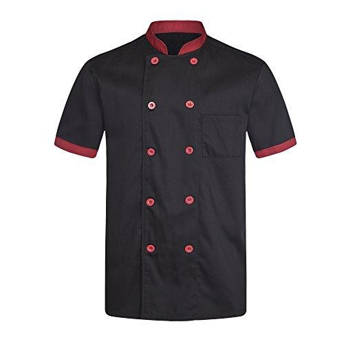 Chef Coat Black red Uniforms Short Sleeve Chef Jacket Unisex Black US Size:L (Tag:XXXL) by ChefsUniforms