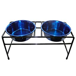 Platinum Pets Modern Double Diner Feeder with Two 1-Pint Heavy Bowls, Blue