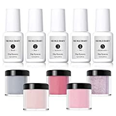 Specification: Brand: NICOLE DIARY Quantity: 5 Bottles + 5Boxes Capacity of liquid: Approx.7ml/bottle Capacity of powders: Approx.10ml/box Package Contents:  5 Bottles 7ml NICOLE DIARY Dipping Nail Powder System Liquid(Include Bond, Base, Act...