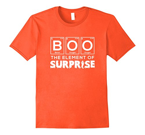 Periodic Element Costume (Mens Funny Halloween Boo Periodic Element of Surprise T-Shirt Pun Large Orange)