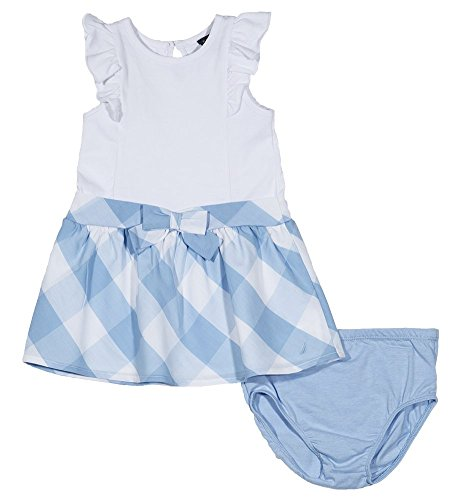 Nautica bebé niñas estampado vestido sin mangas,  Gingham White, 24 meses