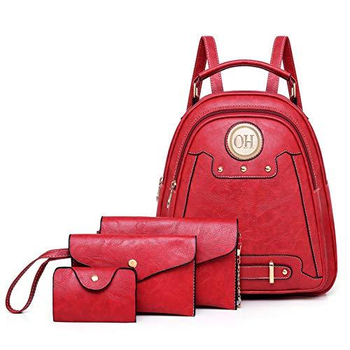 Red Aceitoso Bolso Retro Mujer Moda Cuatro Cuero Bolsa Piezas De Mzdpp Invierno Madre Nueva Mochila qxwTpp6a