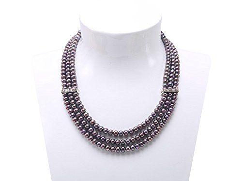 JYX 3-row 6-7mm Flatly-round Black Freshwater Cultured Pearl Necklace