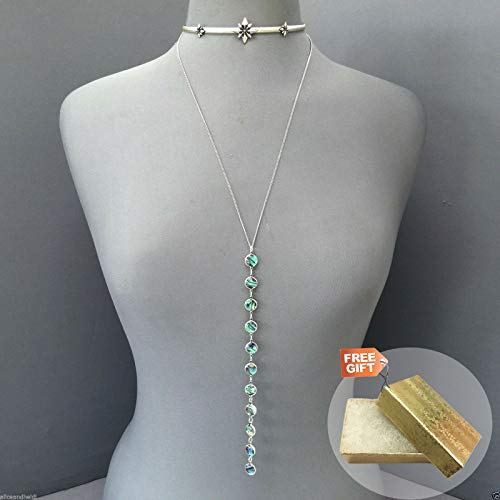 Antique Silver Star Choker Necklace with Chain Dangling Abalone + Gold Cotton Filled Gift Box for Free