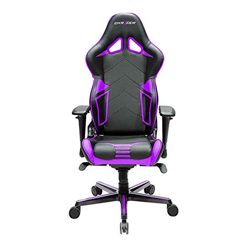 DXRacer OH/RV131/NV Black & Violet Racing Series Gaming Chair Ergonomic High Backrest Office Computer Chair Esports Chair Swivel Tilt and Recline with Headrest and Lumbar Cushion + Warranty