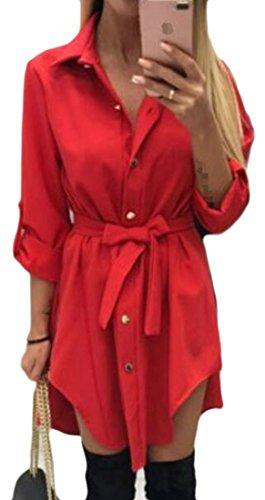 Cromoncent Womens Bouton Manches De Retrousser Occasionnels Chemises Irrégulières Robe Rouge
