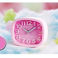 Digital Analog Alarm Clock Bedside Snooze Desk Quartz Clock Home Bedroom Office (Pink)