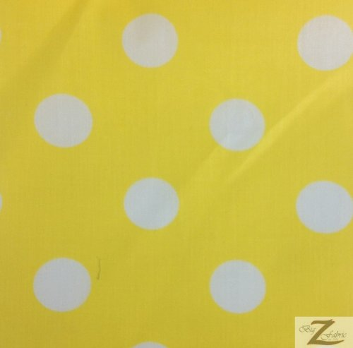 """YELLOW/WHITE BIG POLKA DOTS PRINT POLY COTTON FABRIC 58""""/59"""" WIDTH SOLD BY THE YARD (P142)"""