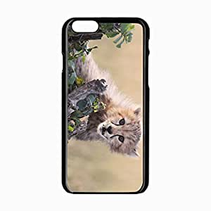 iPhone 6 Black Hardshell Case 4.7inch cheetah cub grass bark Desin Images Protector Back Cover