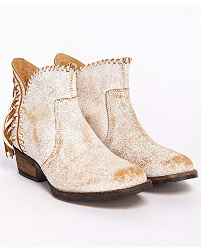 White Braided Boots Shortie Cowboy White Corral Back Fringe Women's Leather Top Urban Distressed 6wPI7qnzUP