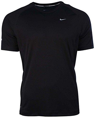 Nike Mens Dri-Fit Miler UV Short Sleeve Running Shirt-Black-Medium